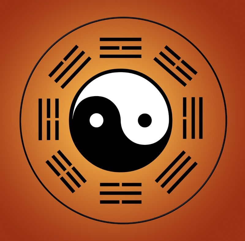The BaGua symbol represents the Chinese philosophy of healing and nature.